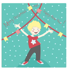 Winter card with cheerful little boy having fun vector