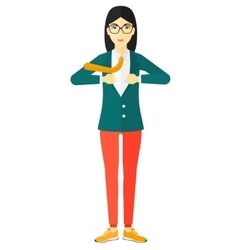 Woman taking off jacket vector