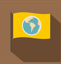 Yellow flag with the image of the globe icon vector