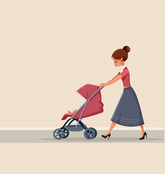 Young mother pushing stroller vector