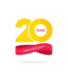 20 years anniversary logo template 20th vector image vector image