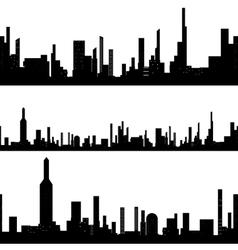 Black silhouette seamless cityscape vector image vector image