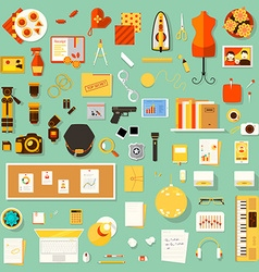 Color bright flat of creative workplace of vector image