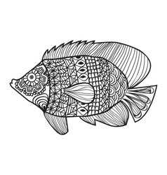 Fish zentangle style design for coloring boo vector image