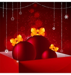 Gift box baubles and christmas decorations vector