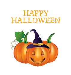 happy halloween card with pumpkins vector image
