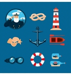 Marine travel icons Isolated cartoons signs vector image