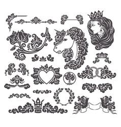 medieval decorative wedding set vector image