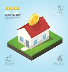 nfographic business currency money coins house vector image vector image