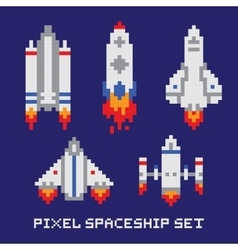 Pixel art spaceship isolated set vector image vector image