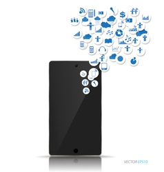 Touchscreen device with cloud of colorful vector image