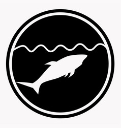 warning isolated sign circle with shark under vector image