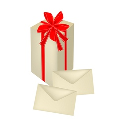 A Tall Gift Box with Red Ribbon and Cards vector image vector image