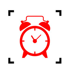 alarm clock sign red icon inside black vector image vector image