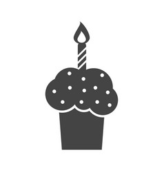 birthday cake flat icon fresh pie muffin on white vector image vector image