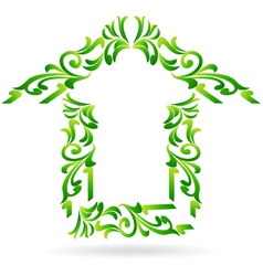 Green home floral on white background vector image