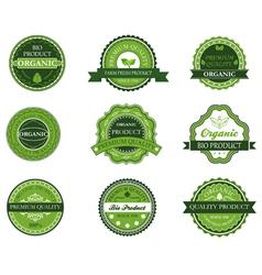 Green organic and bio labels vector image