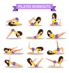 set of pilates workouts design vector image vector image