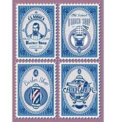 set template of stamps with elements barbershop vector image vector image