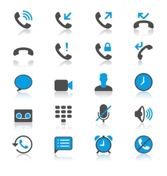 Telephone flat with reflection icons vector image