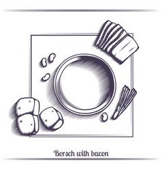 Borsch with bacon black vector