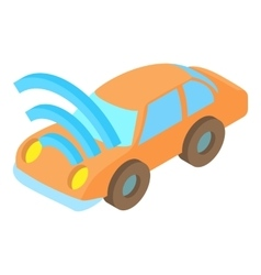 Car with wi fi icon cartoon style vector