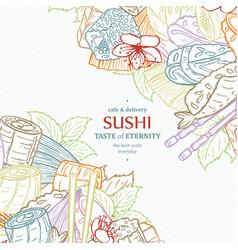 doodle sushi restaurant menu design template vector image