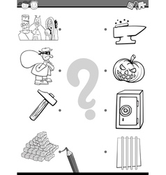 match elements coloring page vector image vector image