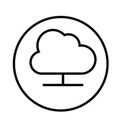 monochrome contour with circular frame with cloud vector image vector image