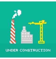 Pixel art under construction vector image vector image