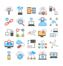 web hosting and cloud computing flat icons vector image