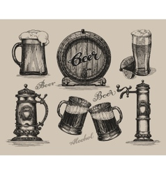 Beer set Sketch elements for oktoberfest festival vector image vector image