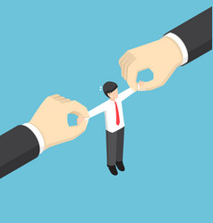businessman pulled by two big hand vector image vector image