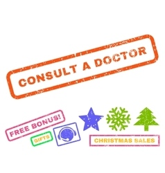 Consult a Doctor Rubber Stamp vector image vector image