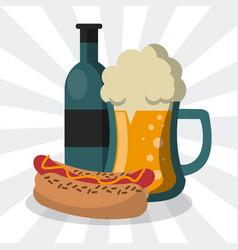 hot dog and beer cartoon vector image
