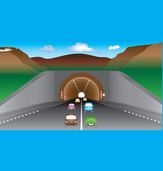 tunnel in mountains vector image