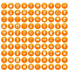 100 windmills icons set orange vector