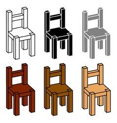 3D simple wooden chair black symbol vector
