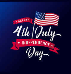4th july independence day usa lettering banner vector image