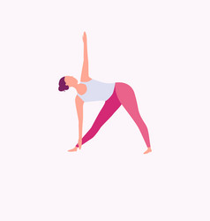 a young girl practicing yoga in trikonasana pose vector image
