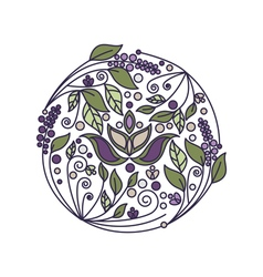 Abstract flower foliage round ornament vector