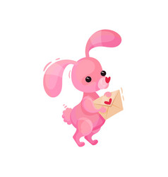 adorable pink bunny holding love letter in paws vector image