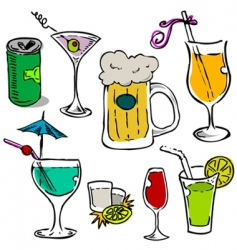 alcohol glass set vector image