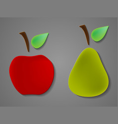 Apple and pears pattern silhouettes over white vector