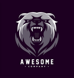 awesome angry bear logo design vector image