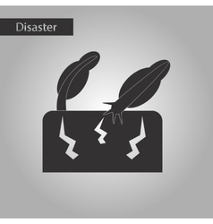 Black and white style icon earthquake trees vector