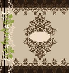 brown floral ornate vintage frame vector image