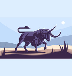 Bull in nature vector