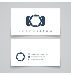 Business card template Camera conceptl logo vector