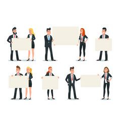 business people holding banner businessman hold vector image